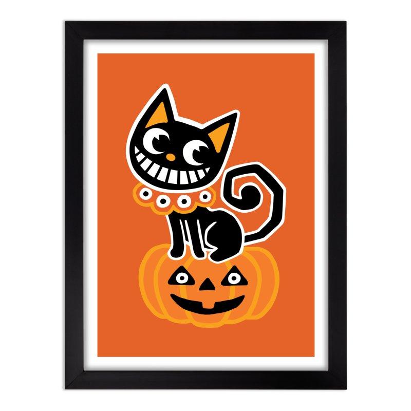 Spooky Pumpkin Black Cat Home Framed Fine Art Print by Cattype's Artist Shop
