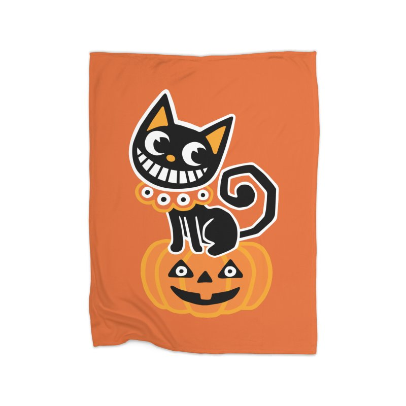 Spooky Pumpkin Black Cat Home Blanket by Cattype's Artist Shop