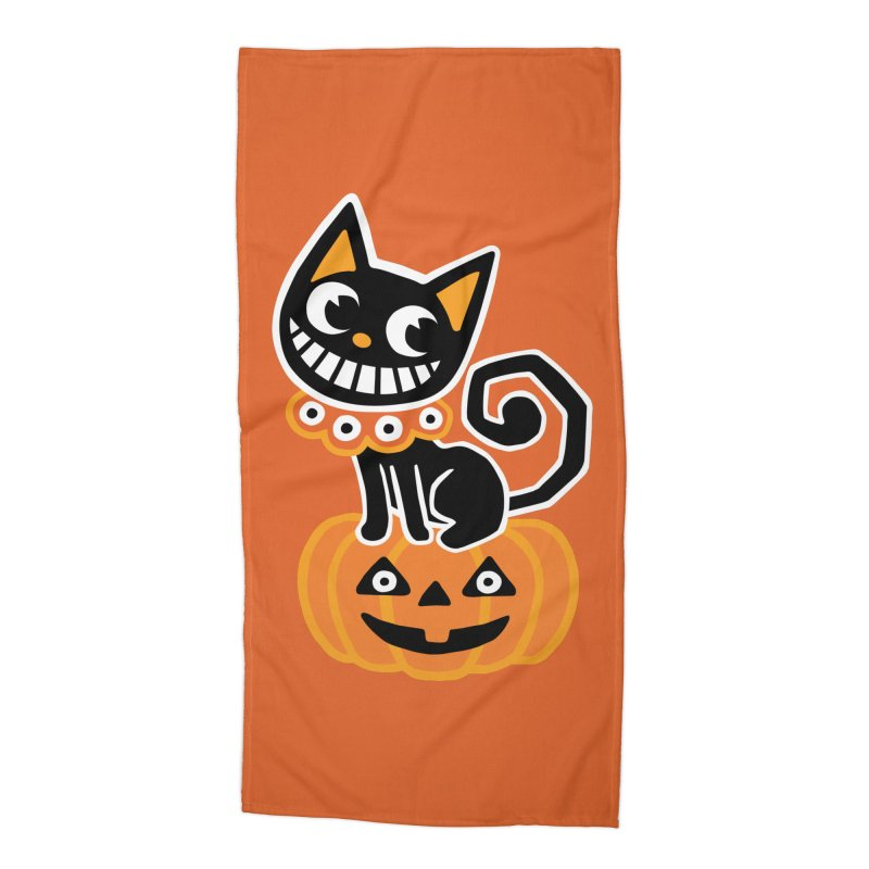 Spooky Pumpkin Black Cat Accessories Beach Towel by Cattype's Artist Shop