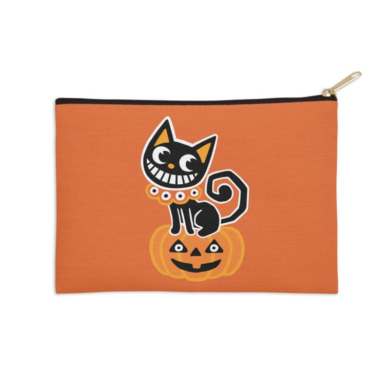 Spooky Pumpkin Black Cat Accessories Zip Pouch by Cattype's Artist Shop