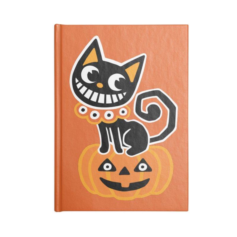 Spooky Pumpkin Black Cat Accessories Notebook by Cattype's Artist Shop