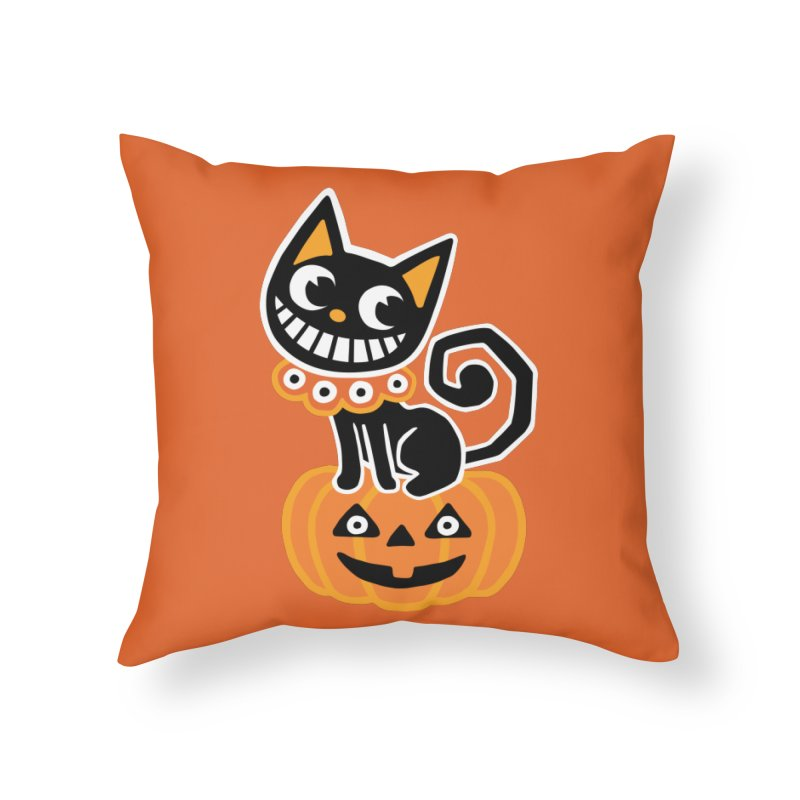 Spooky Pumpkin Black Cat Home Throw Pillow by Cattype's Artist Shop