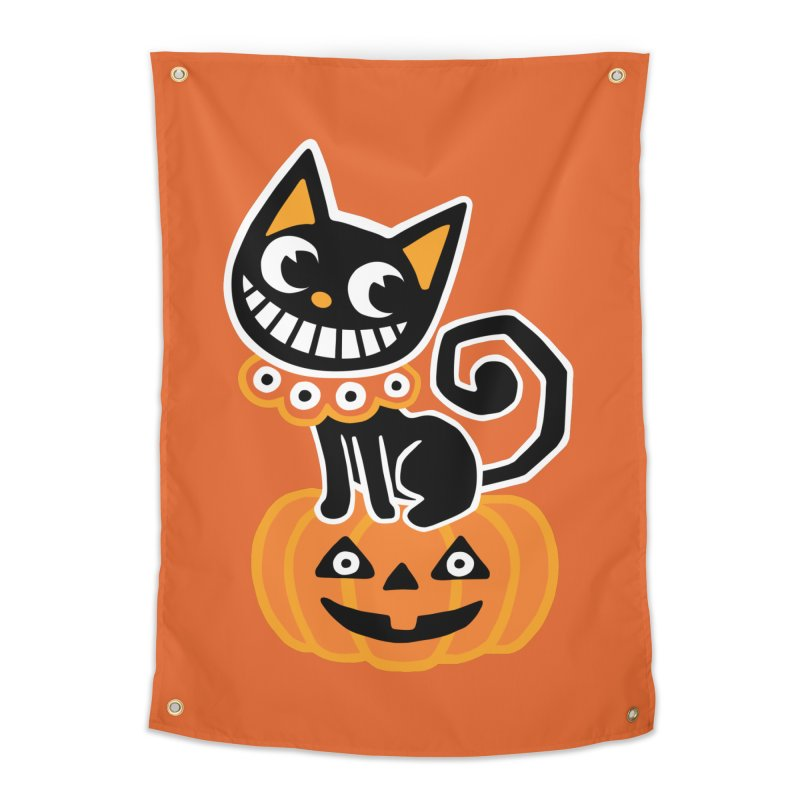 Spooky Pumpkin Black Cat Home Tapestry by Cattype's Artist Shop