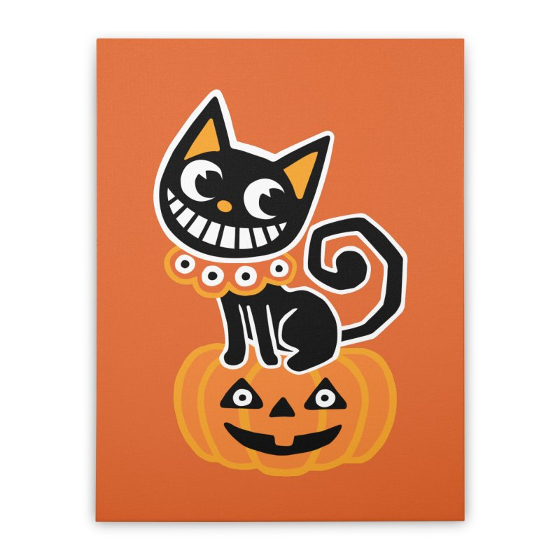 Spooky Pumpkin Black Cat Home Stretched Canvas by Cattype's Artist Shop