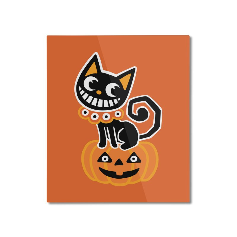 Spooky Pumpkin Black Cat Home Mounted Aluminum Print by Cattype's Artist Shop