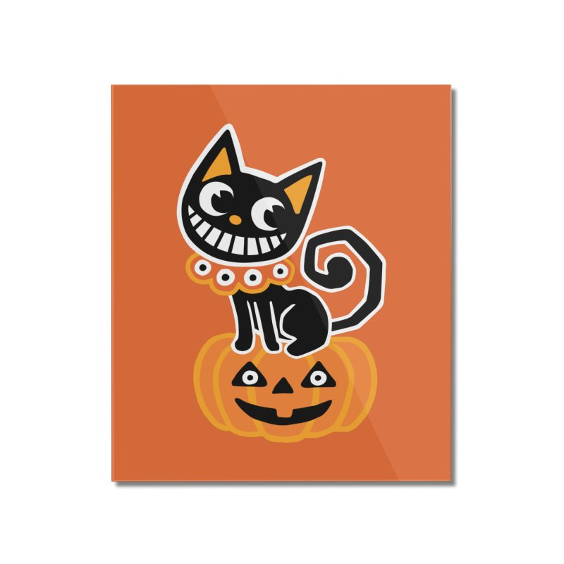 Spooky Pumpkin Black Cat Home Mounted Acrylic Print by Cattype's Artist Shop
