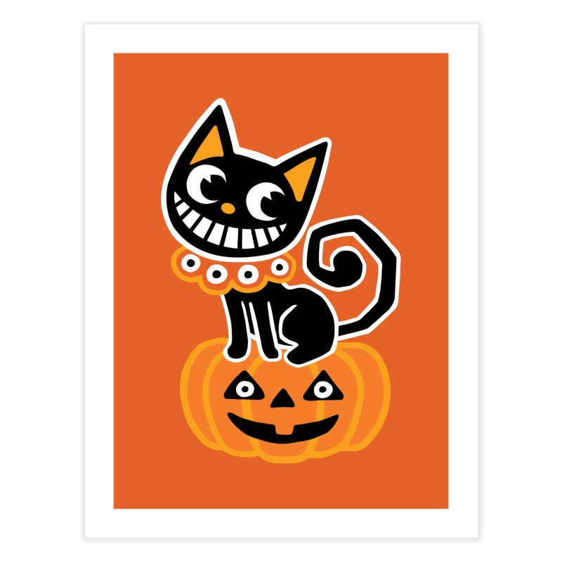 Spooky Pumpkin Black Cat Home Fine Art Print by Cattype's Artist Shop