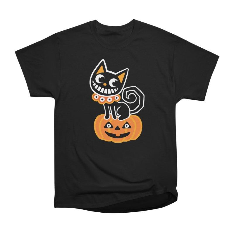 Spooky Pumpkin Black Cat Women's T-Shirt by Cattype's Artist Shop