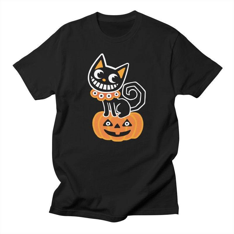Spooky Pumpkin Black Cat Men's T-Shirt by Cattype's Artist Shop