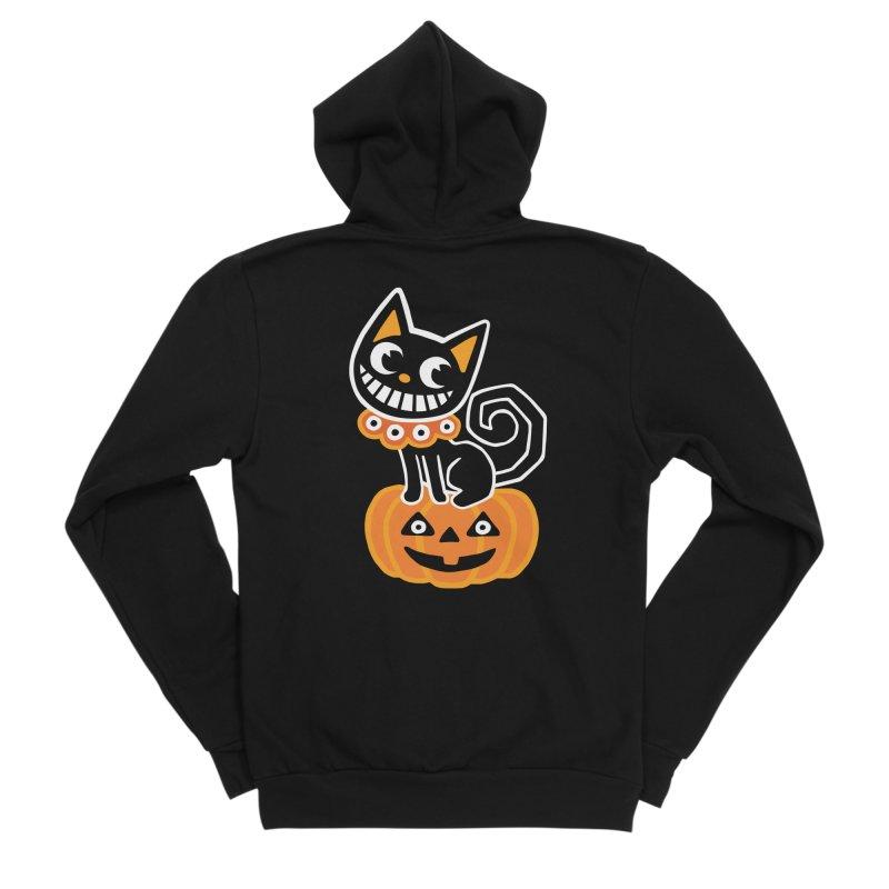 Spooky Pumpkin Black Cat Men's Zip-Up Hoody by Cattype's Artist Shop