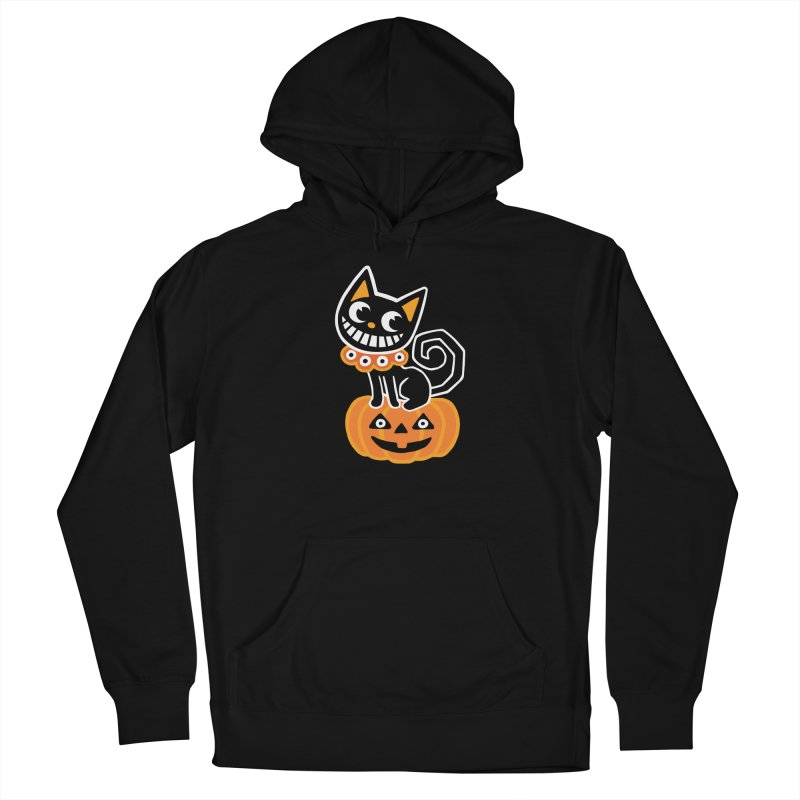 Spooky Pumpkin Black Cat Women's Pullover Hoody by Cattype's Artist Shop