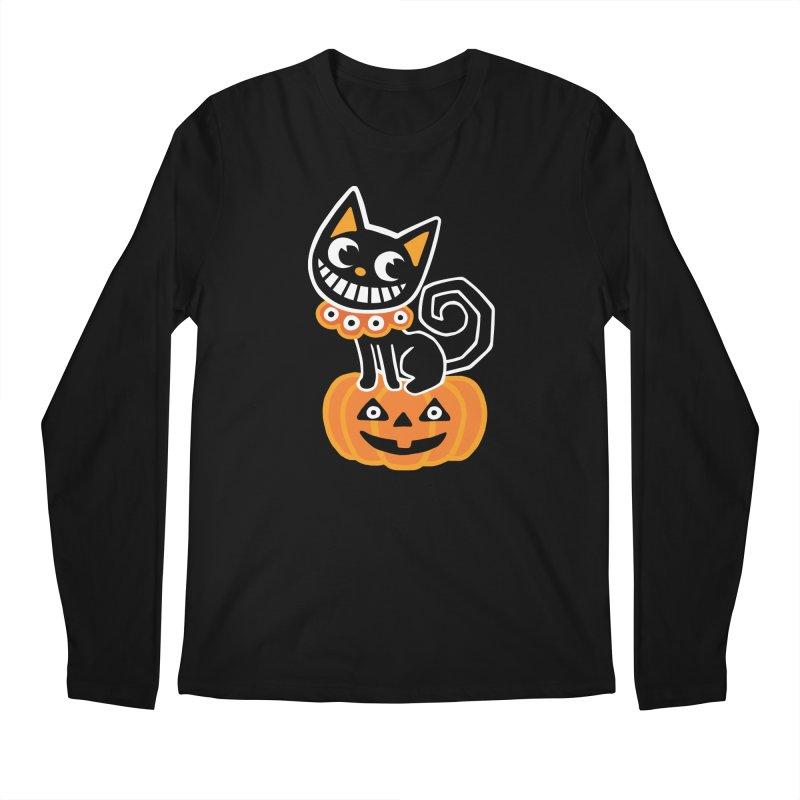 Spooky Pumpkin Black Cat Men's Longsleeve T-Shirt by Cattype's Artist Shop