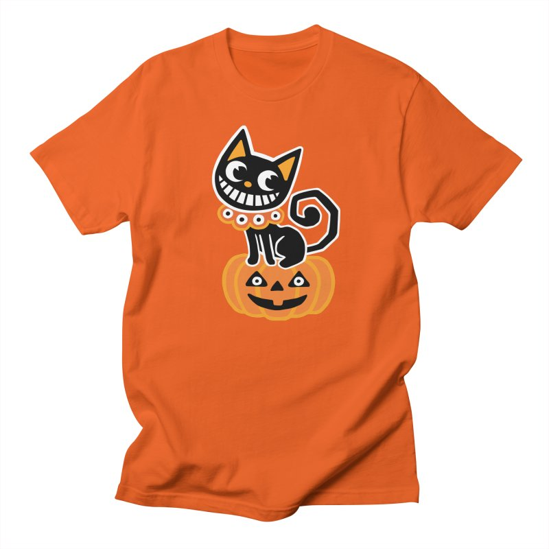 Spooky Pumpkin Black Cat Women's T-Shirt by Cattype's Artist Shop