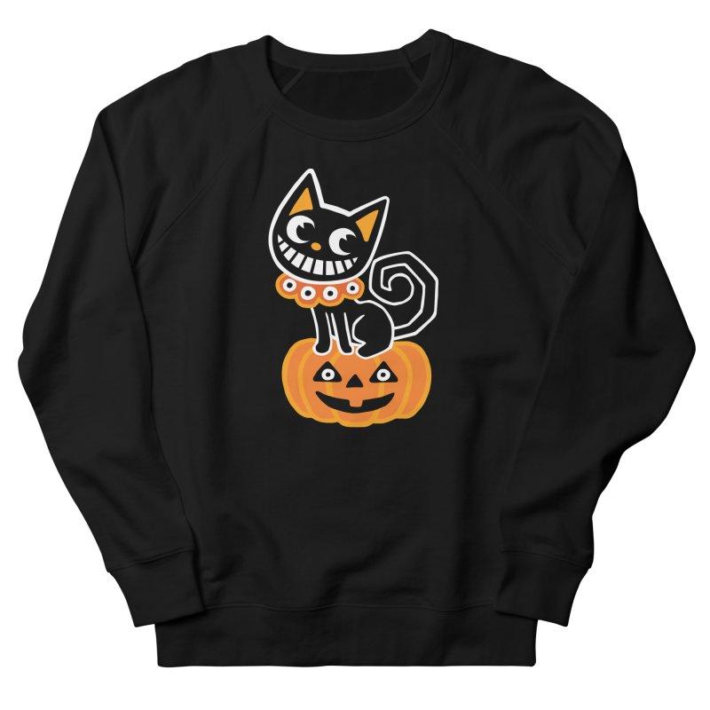 Spooky Pumpkin Black Cat Men's Sweatshirt by Cattype's Artist Shop