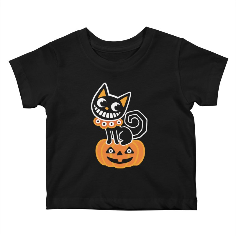 Spooky Pumpkin Black Cat Kids Baby T-Shirt by Cattype's Artist Shop
