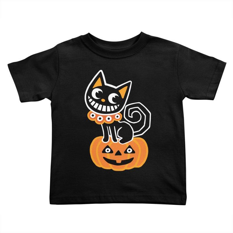 Spooky Pumpkin Black Cat Kids Toddler T-Shirt by Cattype's Artist Shop