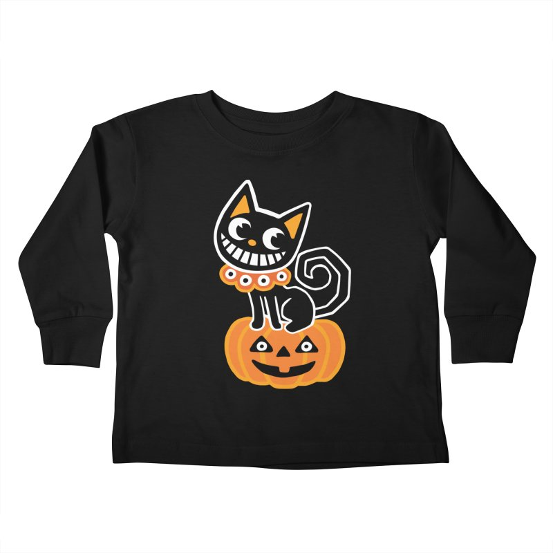 Spooky Pumpkin Black Cat Kids Toddler Longsleeve T-Shirt by Cattype's Artist Shop