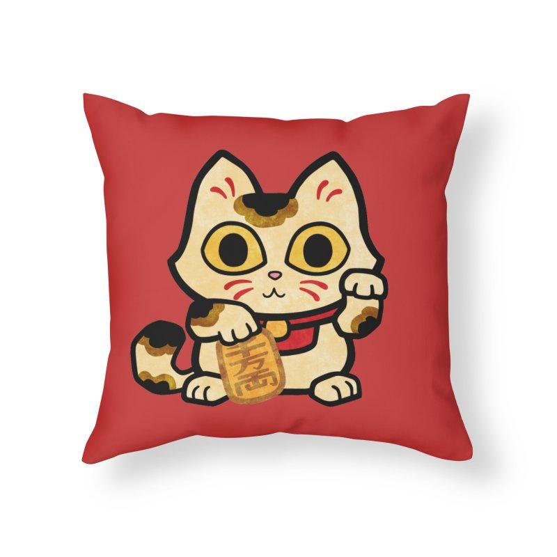 Maneki Neko Home Throw Pillow by Cattype's Artist Shop
