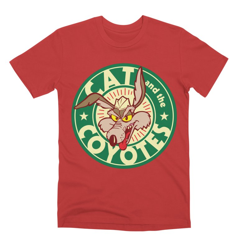 Cat and the Coyotes Poke Chop Tee Men's Premium T-Shirt by Magic Inkwell
