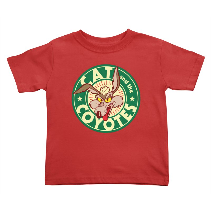 Cat and the Coyotes Poke Chop Tee Kids Toddler T-Shirt by Magic Inkwell