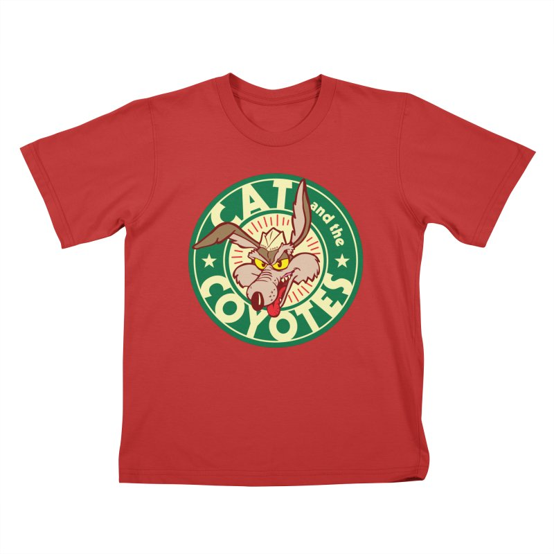 Cat and the Coyotes Poke Chop Tee Kids T-shirt by Magic Inkwell