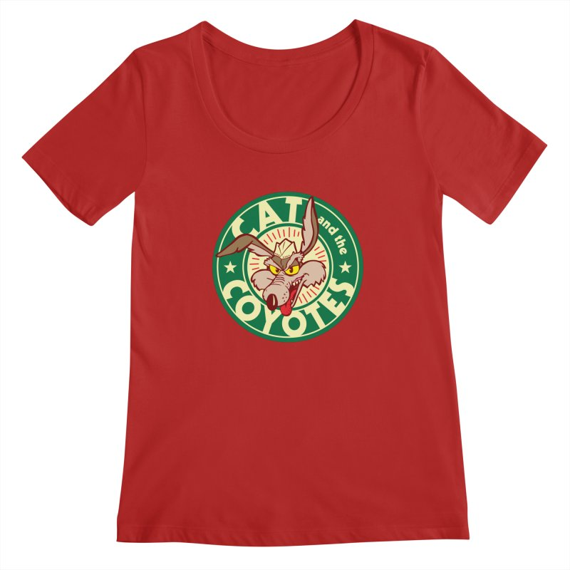 Cat and the Coyotes Poke Chop Tee Women's Scoopneck by Magic Inkwell