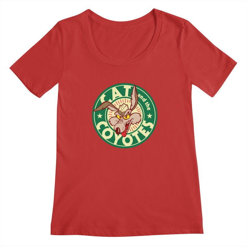 Cat and the Coyotes Poke Chop Tee Women's Regular Scoop Neck by Magic Inkwell