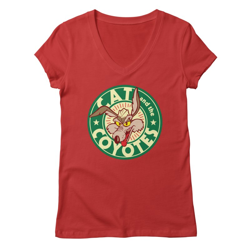 Cat and the Coyotes Poke Chop Tee Women's Regular V-Neck by Magic Inkwell
