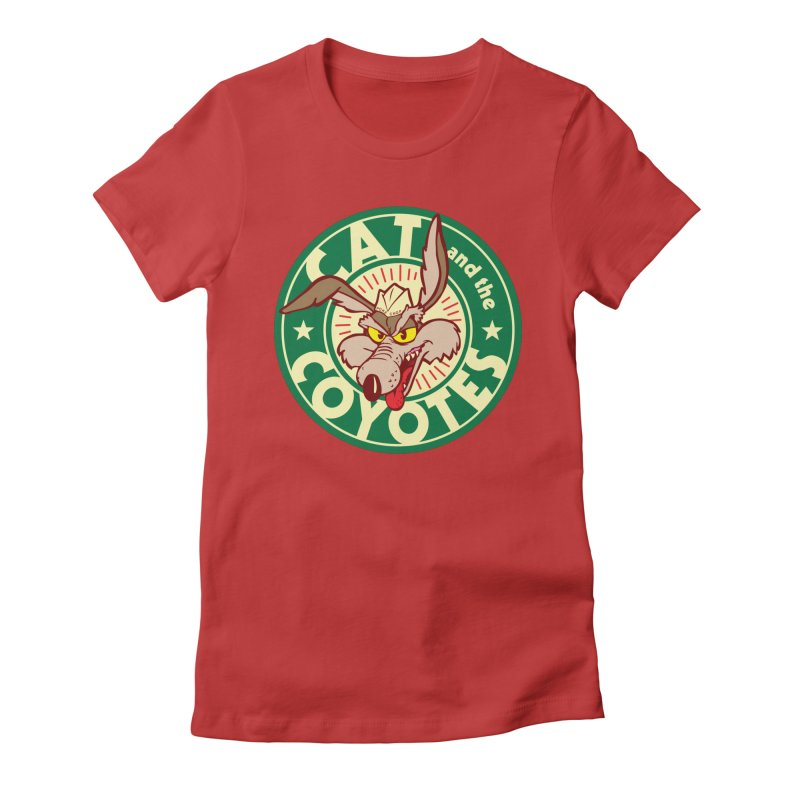 Cat and the Coyotes Poke Chop Tee Women's Fitted T-Shirt by Magic Inkwell