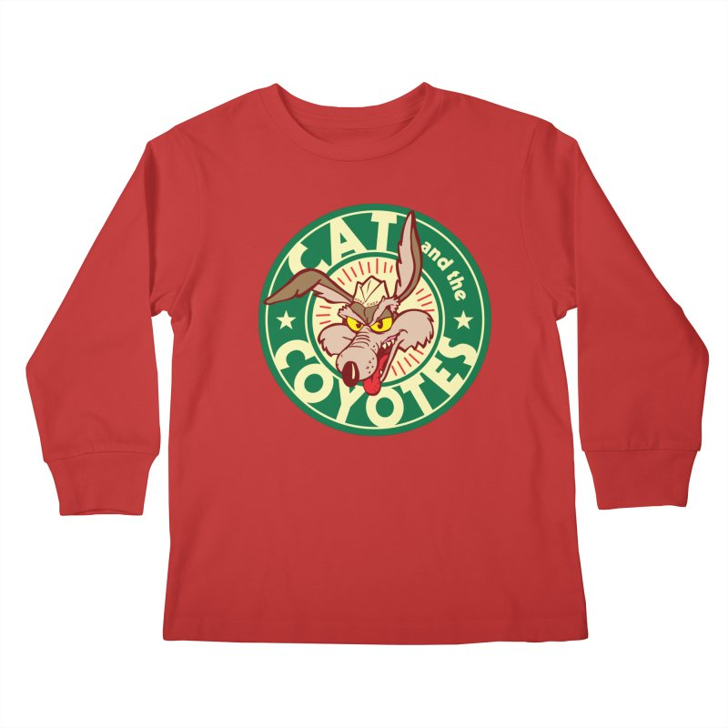 Cat and the Coyotes Poke Chop Tee Kids Longsleeve T-Shirt by Magic Inkwell
