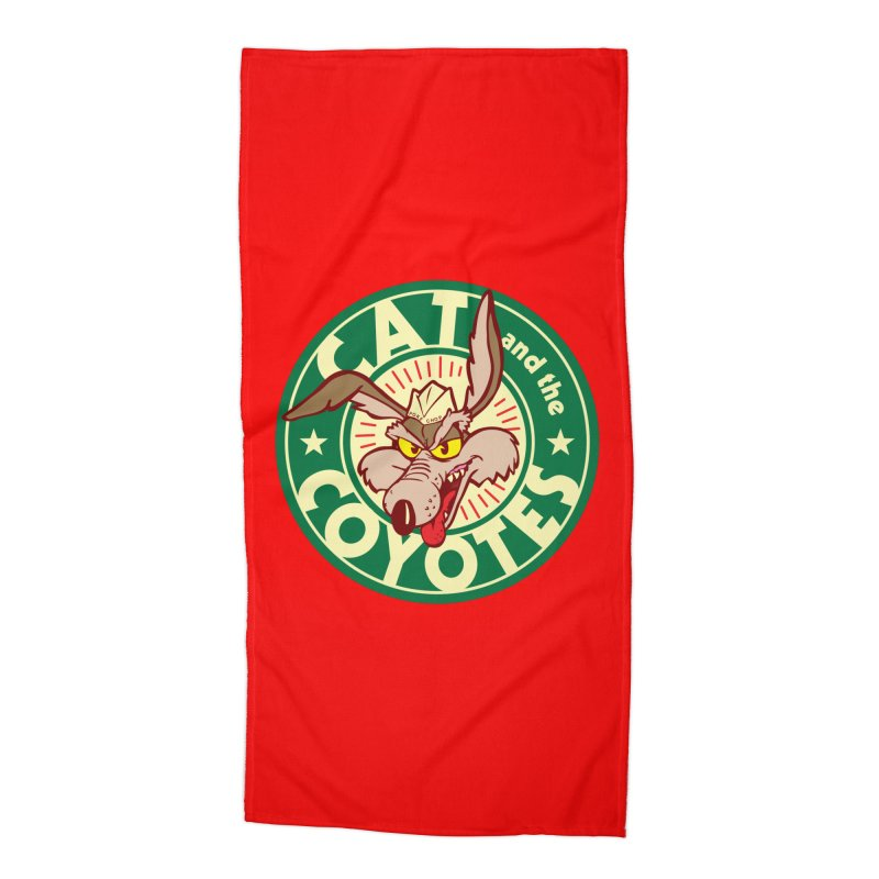 Cat and the Coyotes Poke Chop Tee Accessories Beach Towel by Magic Inkwell