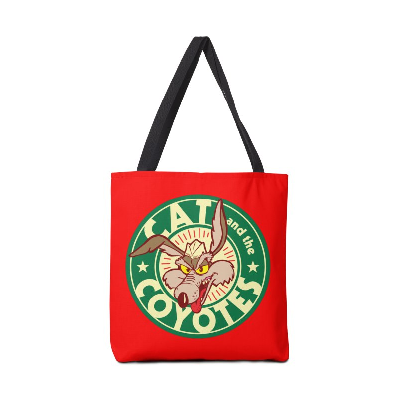 Cat and the Coyotes Poke Chop Tee Accessories Tote Bag Bag by Magic Inkwell