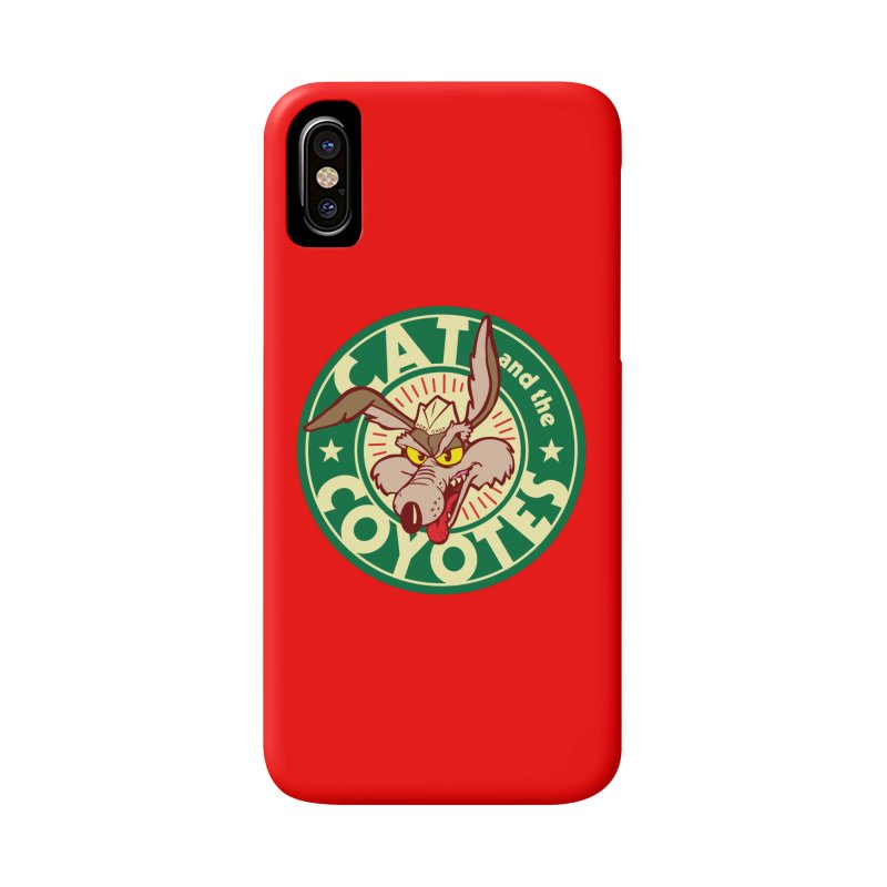Cat and the Coyotes Poke Chop Tee Accessories Phone Case by Magic Inkwell