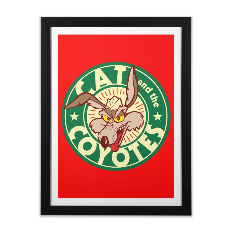 Cat and the Coyotes Poke Chop Tee Home Framed Fine Art Print by Magic Inkwell