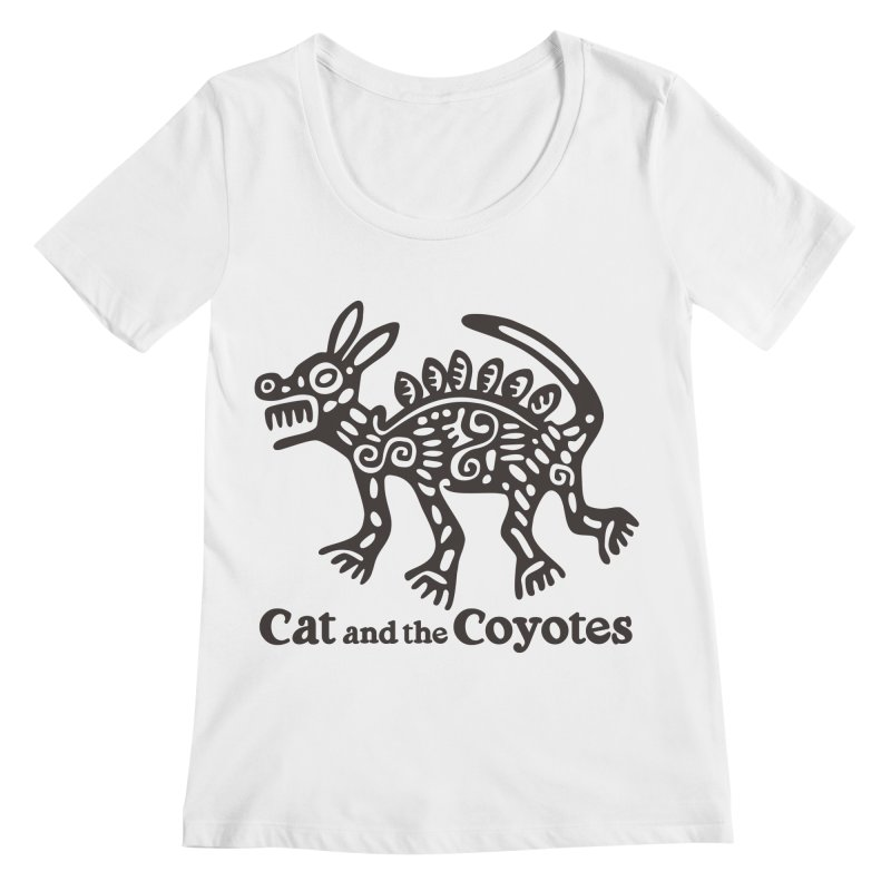 Cat and the Coyotes Coyote Azteca Tee Women's Regular Scoop Neck by Magic Inkwell