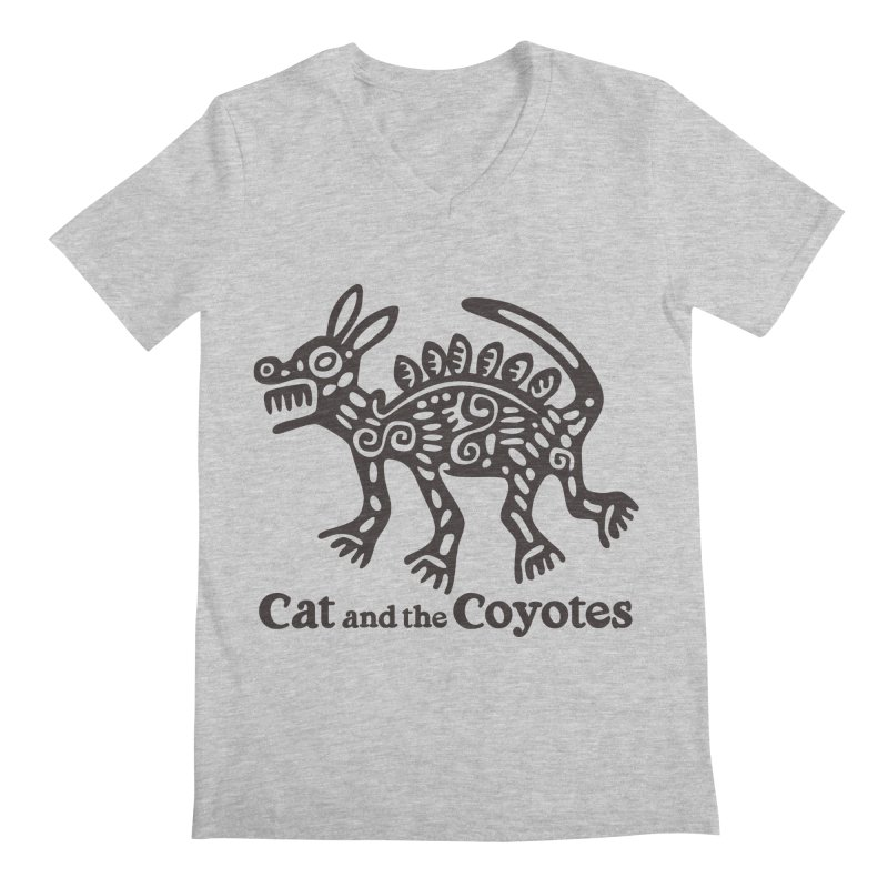 Cat and the Coyotes Coyote Azteca Tee Men's Regular V-Neck by Magic Inkwell