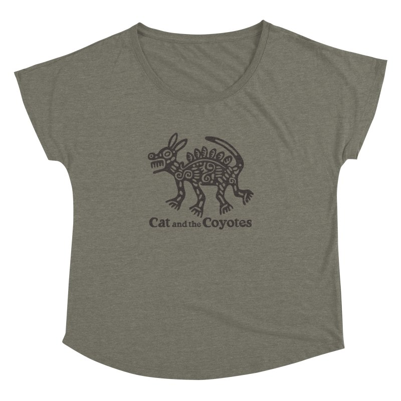 Cat and the Coyotes Coyote Azteca Tee Women's Dolman Scoop Neck by Magic Inkwell