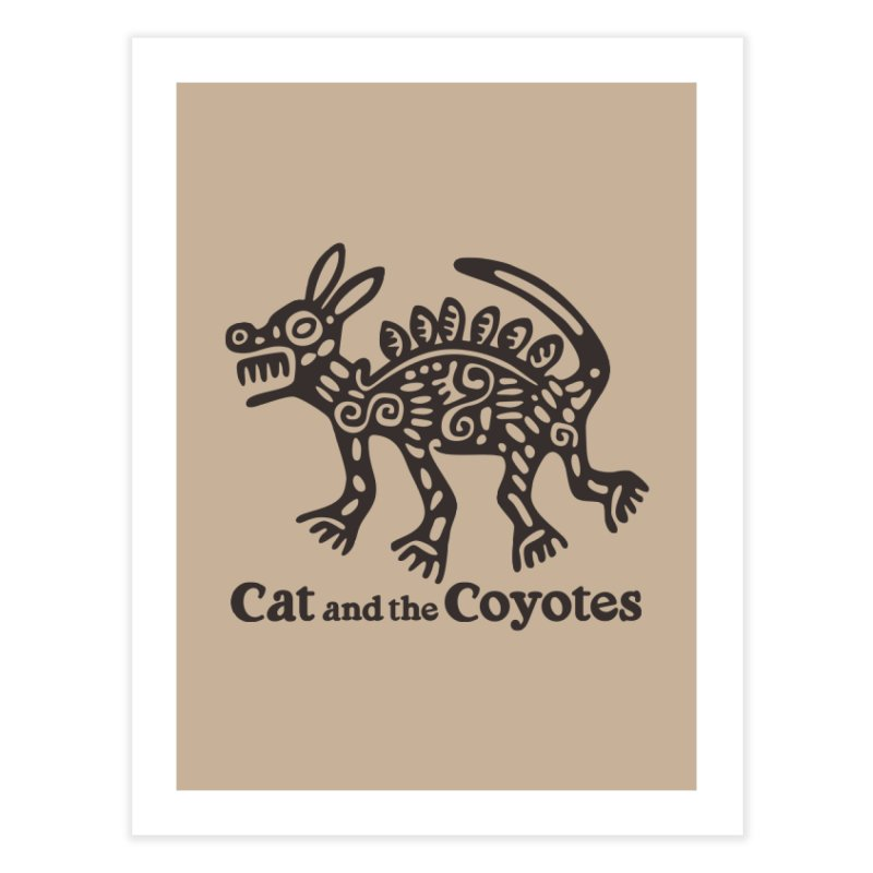 Cat and the Coyotes Coyote Azteca Tee Home Fine Art Print by Magic Inkwell