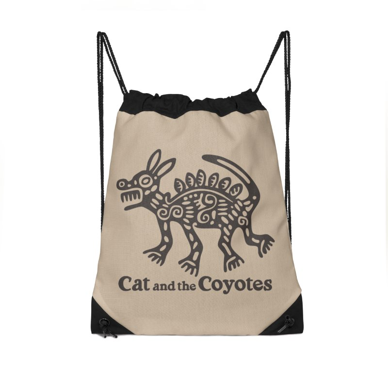Cat and the Coyotes Coyote Azteca Tee Accessories Drawstring Bag Bag by Magic Inkwell
