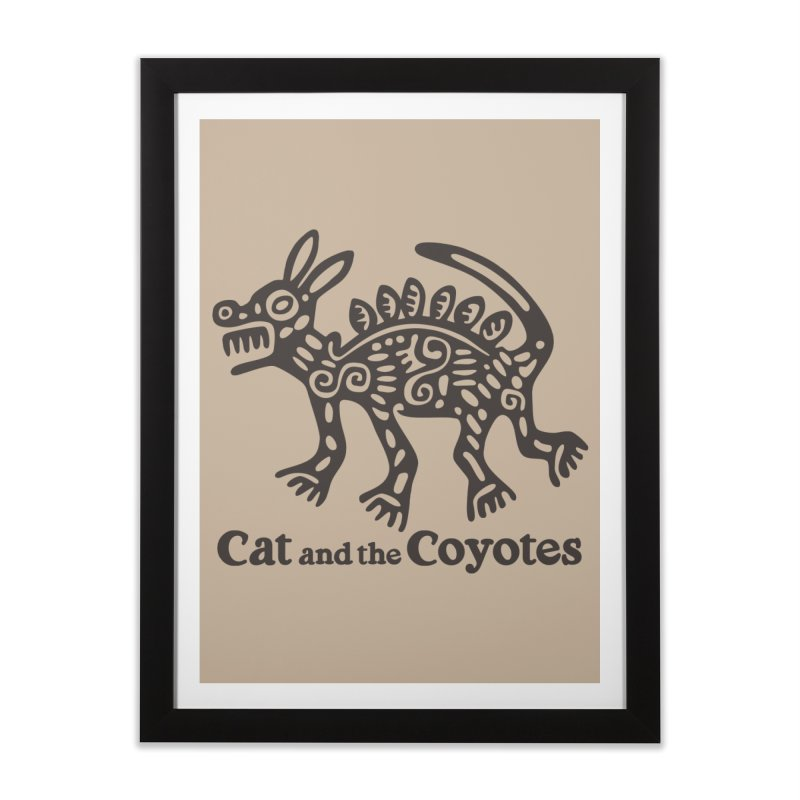 Cat and the Coyotes Coyote Azteca Tee Home Framed Fine Art Print by Magic Inkwell