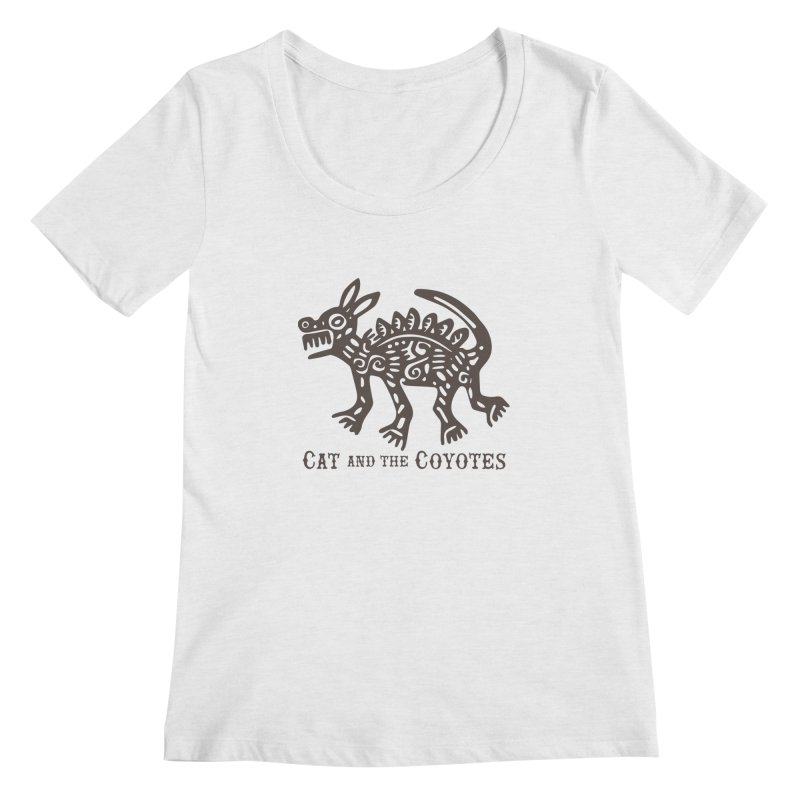 Cat and the Coyotes Coyote Azteca Tee Women's Scoopneck by Magic Inkwell