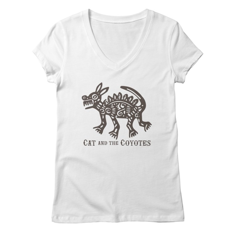 Cat and the Coyotes Coyote Azteca Tee Women's V-Neck by Magic Inkwell