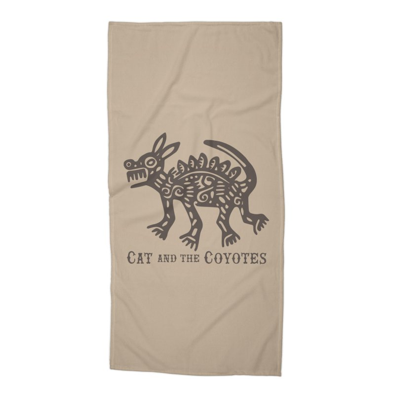Cat and the Coyotes Coyote Azteca Tee Accessories Beach Towel by Magic Inkwell