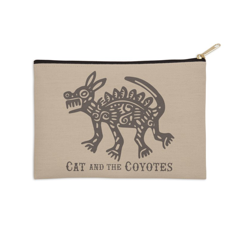 Cat and the Coyotes Coyote Azteca Tee Accessories Zip Pouch by Magic Inkwell