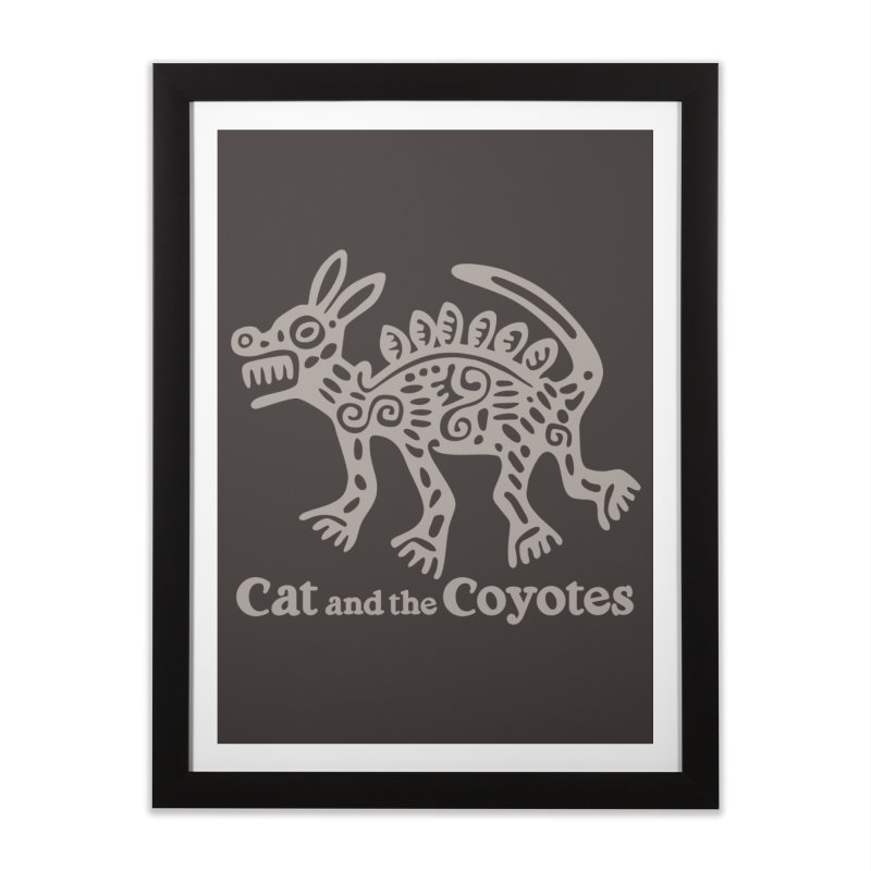 Cat and the Coyotes Coyote Azteca 2nd Colorway Home Framed Fine Art Print by Magic Inkwell