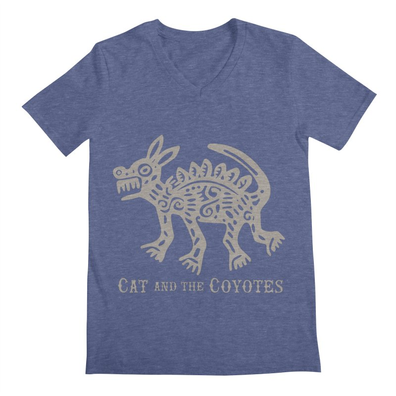 Cat and the Coyotes Coyote Azteca 2nd Colorway Men's V-Neck by Magic Inkwell