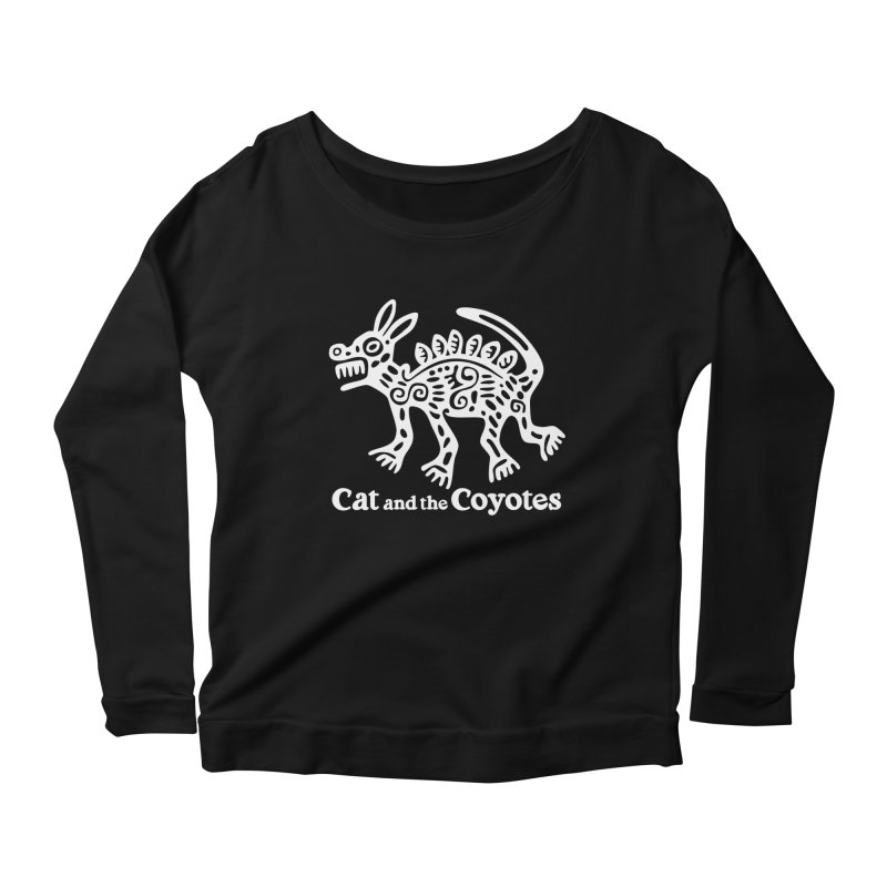 Azteca Dog Black and White Women's Scoop Neck Longsleeve T-Shirt by Magic Inkwell