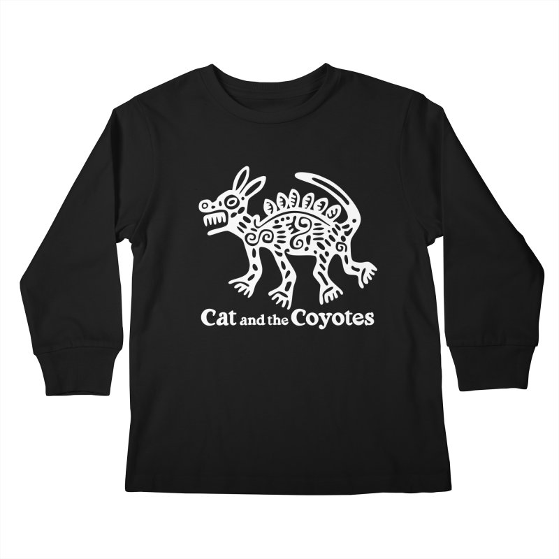 Azteca Dog Black and White Kids Longsleeve T-Shirt by Magic Inkwell