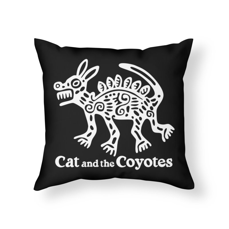 Azteca Dog Black and White Home Throw Pillow by Magic Inkwell