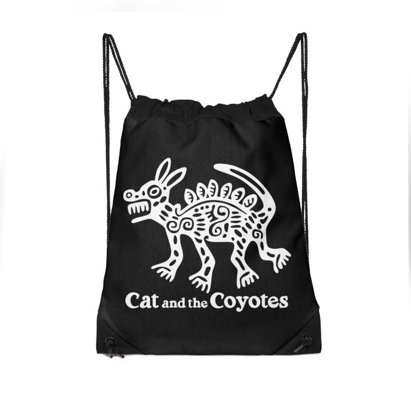 Azteca Dog Black and White Accessories Drawstring Bag Bag by Magic Inkwell